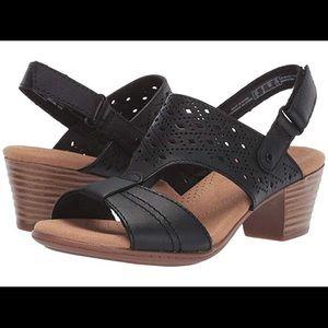 Clarks Valarie Mindi Black Leather Sandal